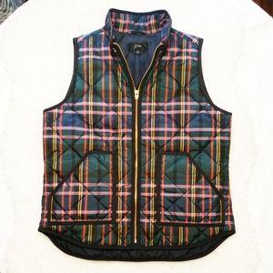 J Crew Womens Tartan Plaid Quilted Puffer Vest